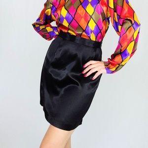 90's Liquid satin onyx black pencil skirt